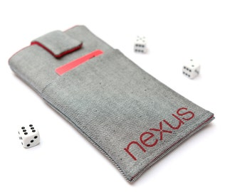 Nexus 6P, 6, Nexus 5X, 5, Nexus 4 sleeve case pouch handmade with magnetic closure light jeans and red with a pocket and red Nexus logo