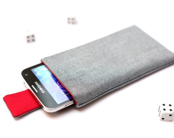 Galaxy S6 edge+, S6 edge, S6, S5, S4, Alpha case cover sleeve handmade with magnetic closure light jeans denim and red