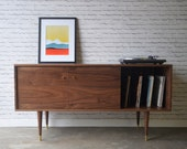 Solid Walnut Media Credenza with Record Storage - custom for Jeremiah