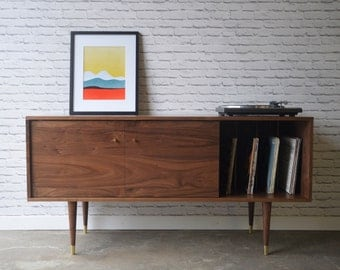 Solid Walnut Media Credenza with Record Storage - kasse