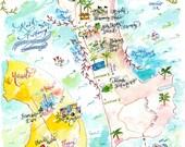 WITH ORIGINAL ARTWORK Custom Wedding Map- Calligraphy and Watercolor