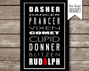 Reindeer Names - Dasher, Dance, prance, Vixen, Comet, Cupid, Donner, Blitzen, Rudolph - 8x12 AND 12x18 INSTANT DOWNLOAD