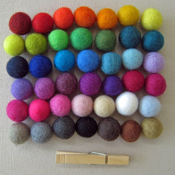 50 2cm Wool Felt Balls - Your Choice of Colors