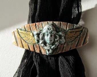 Barrette Flying Nouveau Lady Head in Silver, Gold and Copper Colors on French Style Clip Steampunk Accessories Hair