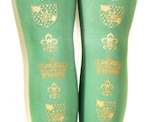 XL Crown Tights Extra Large Plus Size Gold on Arsenic Green Royal Victorian Steampunk Women
