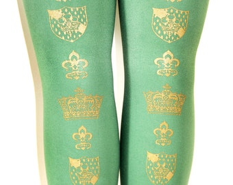 XL Victorian Crown Tights Extra Large Plus Size Gold on Arsenic Green Royal Steampunk Women