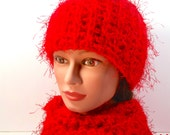 BEAUTIFUL winter set: SCARF and HAT. Scarlet red. Adult size. Special yarn combination of regular and eyelash yarn. Soft. Plush.