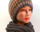 BEAUTIFUL winter set: SCARF and HAT. Earth tones hat, grey infinity scarf. Knitted hat. Adult set for men or women. Wool blends.