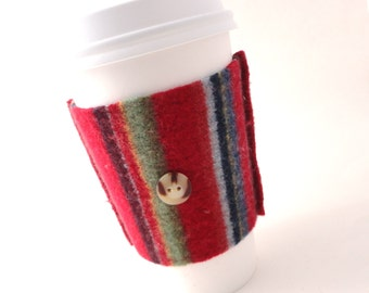 Coffee Sleeve Coffee Cozy PRIMARY STRIPES Red Coffee Cosy Felted Sweater Wool Coffee Sweater by WormeWoole