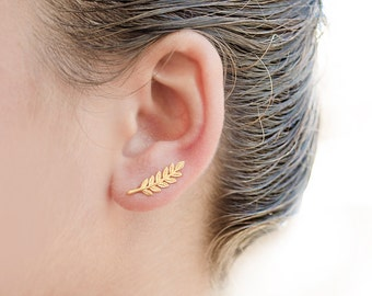 Leaves Ear Climbers, Sterling Silver, Gold Plated, Leaves Ear Sweep, Handmade Ear Cuffs, Ear Crawler, Gift for her, LUNAI, ECF009N