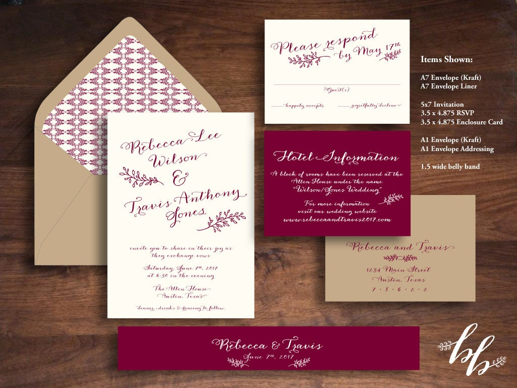 Wedding Invitations Recycled Paper: Sample: Fig Leaves Wedding Invitation