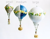 Hot Air Balloon, Floating Hanging, Paper Clay, small, flower garland