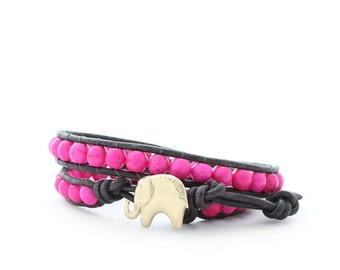 Gold and Hot PInk Lucky Elephant Button Leather Wrap Bracelet- Natural Stone - the Lucky Elephant Exclusive