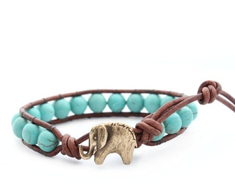 Lucky Elephant Button Turquoise Leather Wrap Bracelet- Natural Stone - the Lucky Elephant Exclusive