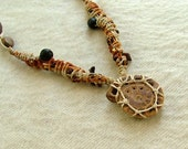 Ammonite macrame necklace - tribal macrame beaded stone necklace - earthy brown natural seeds fossil necklace
