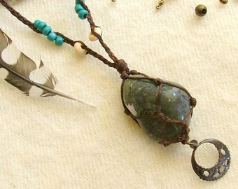 Tribal jewel stone necklace Moss Agate green stone , beaded , with a bronze dangle