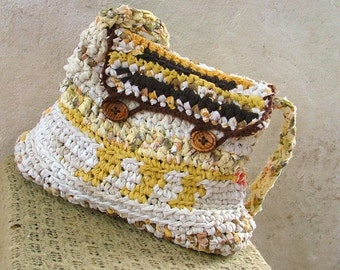 Fabric crochet bag - desert scene - brown and yellow shoulder bag with wooden buttons closure