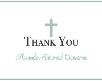 Baptism Thank You Cards Custom - Boy, Christening, Dedication, Confirmation
