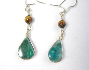 Chrysocolla Wire Wrapped Silver Earrings