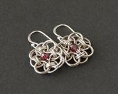 Garnet earrings. Garnet sterling silver chainmaille earrings. Gemstone earrings. Silver earrings. Silver jewellery. Gift for her.