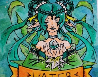 "Water Elemental Fairy 4x4"" Watercolor Painting"