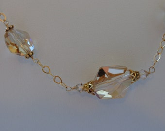 Swarovslki crystal gold station necklace