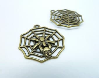 10pcs 27x30mm Antique Bronze Lovely Skull Spider Insects On The Web Charm Pendant C4146