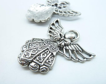 New 6pcs 38x42mm Antique Silver Filigree Angel With Wings Charm Pendant C7777
