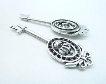 8pcs 18x59mm Antique Silver Crown Cross Key Charm Pendant c4563