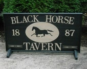 "Primitive Black Horse Tavern Trade Sign Folk Art 29"" x 15"" Wood Game Board"