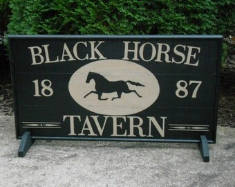 "29"" x 15"", Black, Horse, Tavern, Trade Sign, Folk Art,  Wood, Game Board, Signs, Hand Painted, Folk Art, Primitive"