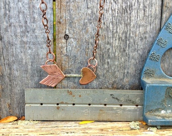 Small handforged copper and sterling flying arrow necklace, tribal jewelry, tribal glam, tribal designs, native american jewelry