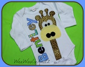 Boys Personalized Newborn Gifaffe Infant Gown Bodysuit Girls Coming Home Outfit Baby Shower Gift Long Necked Giraffe
