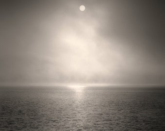 landscape photography, fog photography, sunrise, light, fog, black and white, Unveiling Light