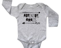 Adventure Awaits Arrows Baby Shirt - Boys or Girls Outdoors Fun Kids Arrow Long Sleeve One Piece Bodysuit - Baby and Toddler Romper