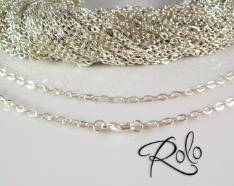 """100 24"""" Silver Plated ROLO Chain Necklaces with Lobster Clasp 3mm  - Bright and Shiny"""