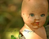 blue eyed doll head photo, vintage doll art, beautifully creepy doll with cracks and chips