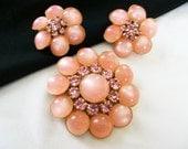 JUDY LEE  Jewelry Brooch Pin Earrings Pink Glass Rhinestone Flower Gold Plate