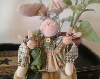 COSOFG, Primitive, Handmade, Pregnant, Mother,  Bunny, Home Decor, Easter