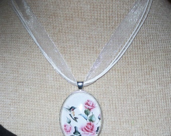 Large handcrafted pendant - print design of a cute hummingbird - pink roses - choice of silver plated chain or organza ribbon