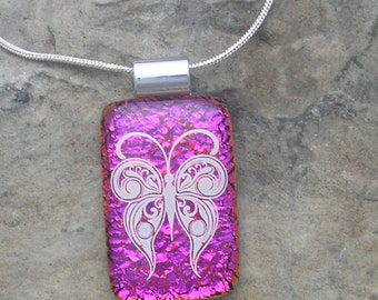 Pink Butterfly Necklace Dichroic Fused Glass Butterfly Pendant