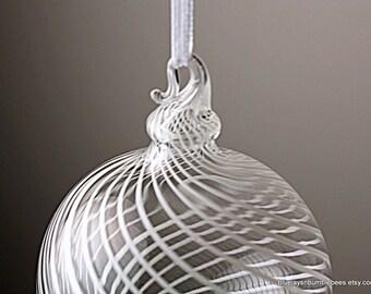 classy white spiral blown glass ornament