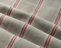 Pure  linen fabric with white and red stripes-natural fabric-ecofriendly-soft