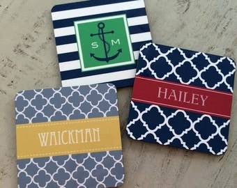 Monogrammed Drink Coasters Monogram Gifts Personalized Bar Coasters Nautical Coasters