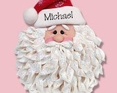 Noodle Beard Santa Face HANDMADE POLYMER CLAY Personalized Christmas Ornament