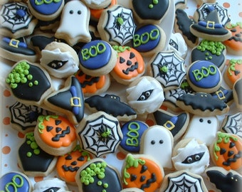Halloween cookies - 2, 3, or 4 dozen MINI cookies - fall cookies - decorated cookies