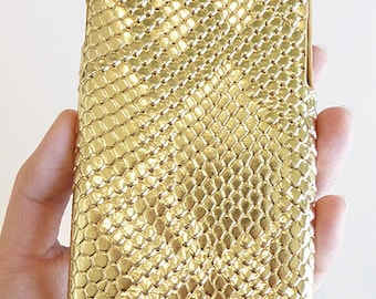 """For Apple iPhone 6 6s 4.7"""" Gold Python Snake Skin Patent Leather Phone Cover Smartphone Cellular Mobile Snap On Hard Shell Case"""