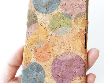 For Sony Ericsson Xperia Z2 Circle Dots Colorful Cork Art Wood Phone Case Cover