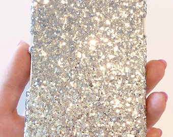 For Sony Ericsson Xperia Z L36H Silver Specks Sequin Cluster Cell Phone Bling Hard Case Cover