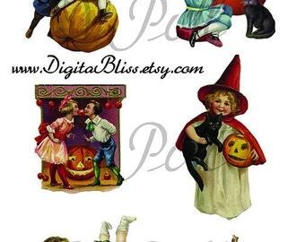 Digital Download Halloween Vintage Children Trick or Treat, Pumpkins and More